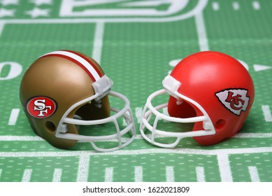 IRVINE, CALIFORNIA - JANUARY 20, 2020: Helmets for the San Francisco 49ers, and Kansas City Chiefs, opponents in Super Bowl LIV.
