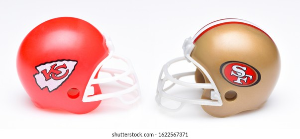 IRVINE, CALIFORNIA - JANUARY 20, 2020: Helmets for the Kansas City Chiefs and San Francisco 49ers, opponents in Super Bowl LIV.