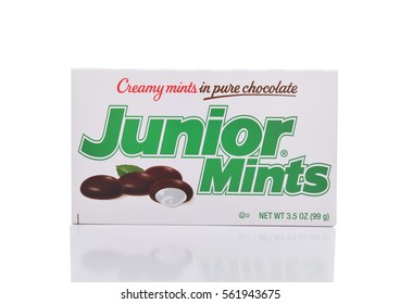 IRVINE, CALIFORNIA - JANUARY 22, 2017: Junior Mints. The candy was introduced in 1949 in Cambridge, Massachusetts by the James O. Welch Company.