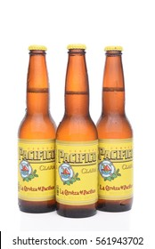IRVINE, CALIFORNIA - JANUARY 22, 2017: 3 Bottles of Cerveza Pacifico Clara, better known as Pacifico, is a Mexican pilsner-style beer, brewed in in the Pacific Ocean port city of Mazatlan.