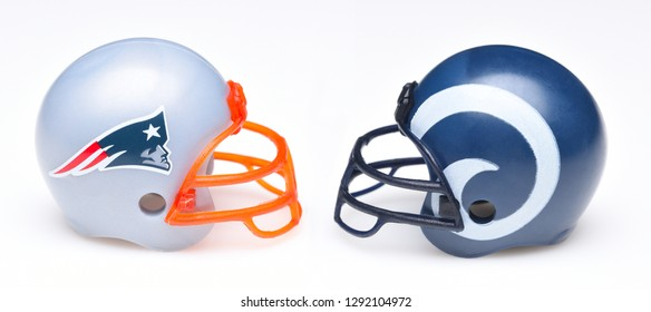 IRVINE, CALIFORNIA - January 22, 2019: Football helmets of the New England Patriots and Los Angeles Rams, opponents in the LIII Super Bowl.
