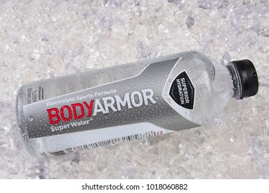 IRVINE, CALIFORNIA - JANUARY 5, 2018: BodyArmor Super Water on ice. The sports drink has Electrolytes, High performance pH in a Wide-mouth bottle.