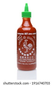 IRVINE, CALIFORNIA - JULY 14, 2014: A bottle Sriracha Hot Chili Sauce. From Huy Fong Foods.
