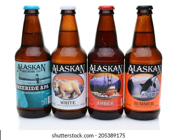 IRVINE, CALIFORNIA - JULY 16, 2014: Four bottles of Alaskan Brewing Co. beers. Alaskan Brewing, founded in 1986 in Juneau, Alaska, was the first Juneau brewery since prohibition.
