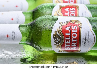 IRVINE, CALIFORNIA - MARCH 10,  2018: Stella Artois Beer closeup. Stella has been brewed in Leuven, Belgium, since 1926, and launched as a festive beer, named after the Christmas star.