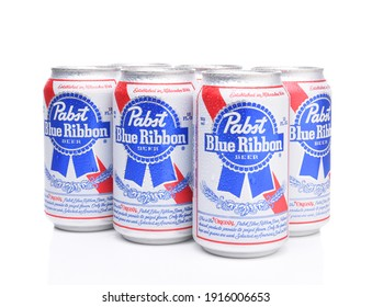 IRVINE, CALIFORNIA - MARCH 16, 2017: Pabst Blue Ribbon Beer. Six cans of the American brand introduced in 1884 in Milwaukee, currently based in Los Angeles.