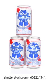 IRVINE, CALIFORNIA - MARCH 16, 2017: Pabst Blue Ribbon Beer. Three stacked cans of the American brand introduced in 1884 in Milwaukee, currently based in Los Angeles.