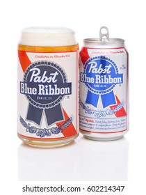 IRVINE, CALIFORNIA - MARCH 16, 2017: Pabst Blue Ribbon Beer. A glass and can of the American brand introduced in 1884 in Milwaukee, currently based in Los Angeles.