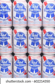 IRVINE, CALIFORNIA - MARCH 16, 2017: Pabst Blue Ribbon Beer. Twelve stacked cans of the American brand introduced in 1884 in Milwaukee, currently based in Los Angeles.