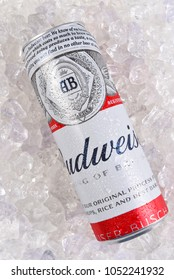 IRVINE, CALIFORNIA - MARCH 21, 2018: A 25 ounce king can of Budweiser Beer on ice. Introduced in 1876 by Adolphus Busch and has become one of the best selling beers in the U. S.