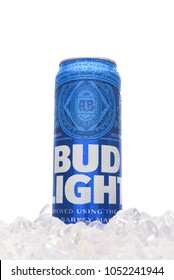 IRVINE, CALIFORNIA - MARCH 21, 2018: A 25 ounce can of Bud Light Beer in ice. Introduced in 1982 as Budweiser Light, it is the brands flagship light beer.