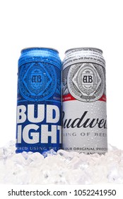 IRVINE, CALIFORNIA - MARCH 21, 2018: Budweiser and Bud Light King Cans in ice. Budweiser and Bud Light are two of the most popular beers in the U.S.