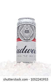 IRVINE, CALIFORNIA - MARCH 21, 2018: A 25 ounce king can of Budweiser Beer in ice. Introduced in 1876 by Adolphus Busch and has become one of the best selling beers in the U. S.