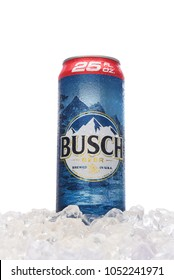 IRVINE, CALIFORNIA - MARCH 21, 2018: A 25 ounce King Can of Busch Beer in ice. An economy brand pale lager introduced in 1955 as Busch Bavarian Beer.