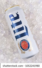 IRVINE, CALIFORNIA - MARCH 21, 2018: A 24 ounce king can of Miller Lite on ice. Introduced in 1975 Miller Lite was the first mainstream light beer.
