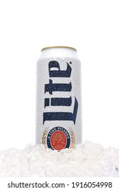 IRVINE, CALIFORNIA - MARCH 21, 2018: A 24 ounce king can of Miller Lite in ice. Introduced in 1975 Miller Lite was the first mainstream light beer.