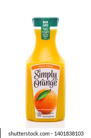 IRVINE, CALIFORNIA - MAY 20, 2019: Simply Orange Pulp Free Orange Juice. The company, based in Florida, is a brand of the Coca-Cola Company. - Image