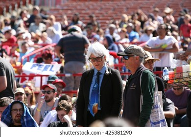 IRVINE, CALIFORNIA - May 22: Fans and Supporters show their Unique Style while at a Bernie Sanders rally in Irvine, California on May 22, 2016
