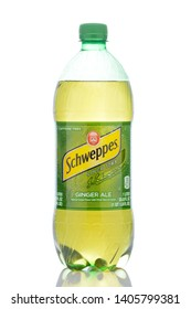 IRVINE, CALIFORNIA - MAY 23, 2019:  A 1 liter plastic bottle of Schweppes Ginger Ale.