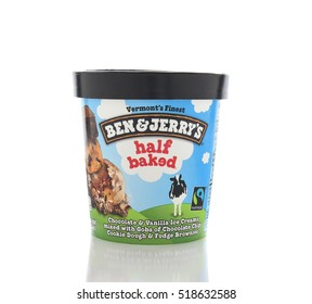 IRVINE, CALIFORNIA - NOVEMBER 16, 2016: A  carton of Ben and Jerrys half baked Ice Cream. The Vermont based company produced gourmet ice creams with unusual names.