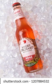 IRVINE, CALIFORNIA - OCTOBER 19, 2018: Anrgy Orchard Rose  Hard Cider on ice, made from rare French Red Flesh Apples.