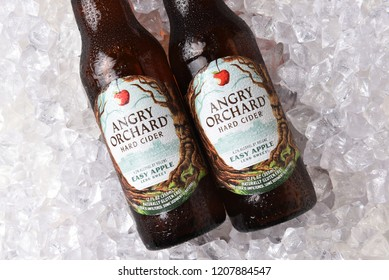 IRVINE, CALIFORNIA - OCTOBER 19, 2018: Two bottles of Anrgy Orchard Easy Apple Hard Cider on a bed of ice.