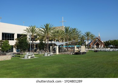 IRVINE, CALIFORNIA - SEPT 7, 2019: Mariners Church Worship Center and Chapel from the Main Lawn, a non-denominational, Christian Church.
