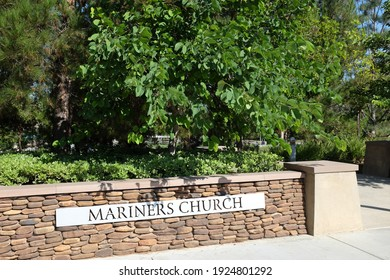 IRVINE, CALIFORNIA - SEPT 7, 2019: Mariners Church walkway sign, a non-denominational, Christian Church located in central Orange County.