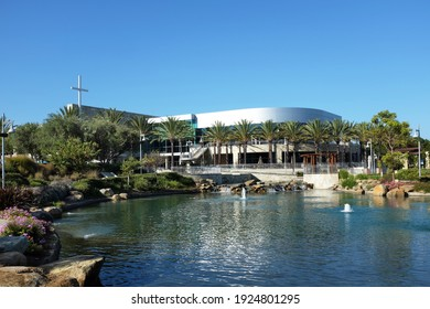 IRVINE, CALIFORNIA - SEPT 7, 2019: Mariners Church Worship Center and Lake, a non-denominational, Christian Church located in central Orange County.