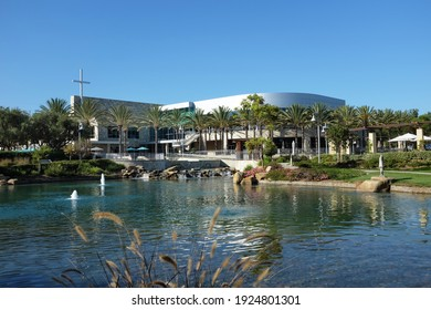 IRVINE, CALIFORNIA - SEPT 7, 2019: Mariners Church Lake and Worship Center, a non-denominational, Christian Church located in central Orange County.