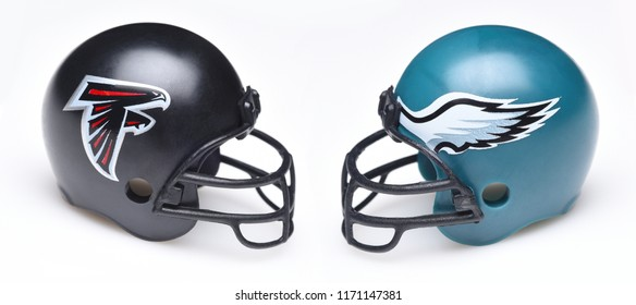 IRVINE, CALIFORNIA - SEPTEMBER 3, 2018:  Football Helmets for the Atlanta Falcons and Philadelphia Eagles. A week one matchup