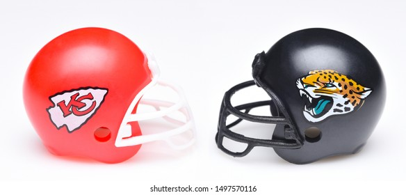 IRVINE, CALIFORNIA - SEPTEMBER 6, 2019: Football helmets of the Kansas City Chiefs vs Jacksonville Jaguars, Week One opponents in the NFL 2019 Season