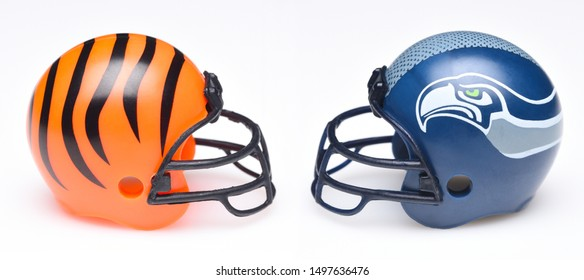 IRVINE, CALIFORNIA - SEPTEMBER 6, 2019: Football helmets of the Cincinnati Bengals vs Seattle Seahawks, Week One opponents in the NFL 2019 Season