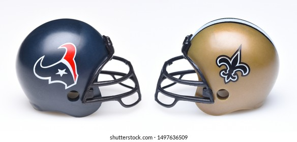 IRVINE, CALIFORNIA - SEPTEMBER 6, 2019: Football helmets of the Houston  Texans vs New Orleans Saints, Week One opponents in the NFL 2019 Season