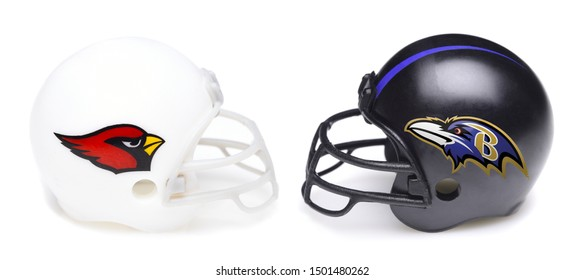 IRVINE, CALIFORNIA - SEPTEMBER 6, 2019: Football helmets of the Arizona Cardinals vs Baltimore Ravens, Week 2 opponents in the NFL 2019 Season