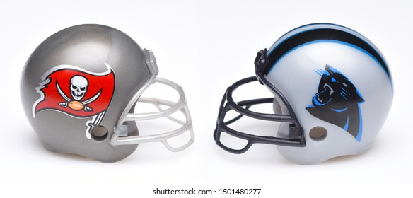 IRVINE, CALIFORNIA - SEPTEMBER 6, 2019: Football helmets of the Tampa Bay Buccaneers vs Carolina Panthers, Week 2 opponents in the NFL 2019 Season, Thursday Night Football.