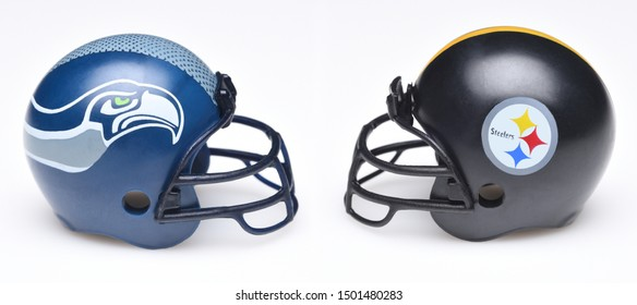 IRVINE, CALIFORNIA - SEPTEMBER 6, 2019: Football helmets of the Seattle Seahawks vs Pittsburgh Steelers, Week 2 opponents in the NFL 2019 Season