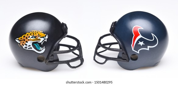 IRVINE, CALIFORNIA - SEPTEMBER 6, 2019: Football helmets of the Jacksonville Jaguars vs Houston Texans, Week 2 opponents in the NFL 2019 Season