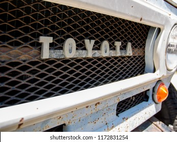 Irvine, California / USA - 2016-06-04: Front Emblem of An Old Toyota Land Cruiser