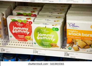 Irvine, California/United States - 01/04/2020: Several packs of Plum Organics baby food on display at a local grocery store.