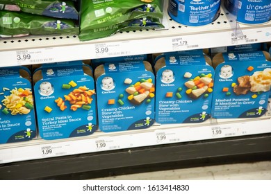 Irvine, California/United States - 01/04/2020: A view of several Gerber baby food meal packages on display at a local department store.
