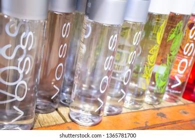 Irvine, California/United States - 03/29/19: Several bottles of Voss water