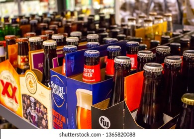Irvine, California/United States - 03/29/19: Several varieties of bottled beer packs on a shelf at the grocery store