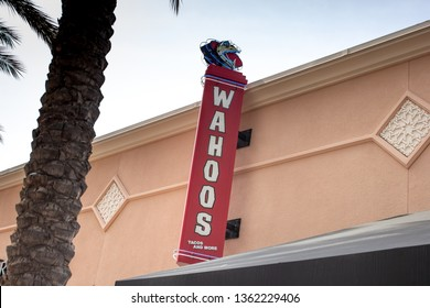 Irvine, California/United States - 03/29/19: A store front sign for the fish taco restaurant known as Wahoo's
