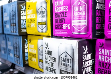 Irvine, California/United States - 08/09/2019: Several cases of Saint Archer beer at the grocery store
