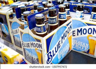 Irvine, California/United States - 08/09/2019: Several 6-pack cases of Blue Moon beer at the grocery store