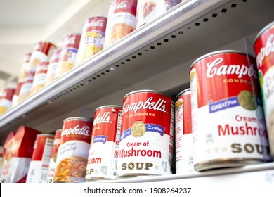 Irvine, California/United States - 08/09/2019: Several cans of Campbell's soup at the grocery store
