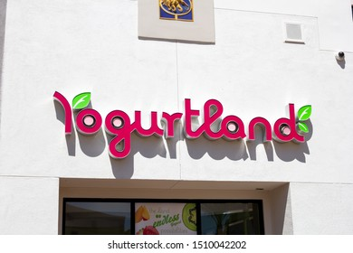 Irvine, California/United States - 08/09/2019: A store front sign for the yogurt shop known as Yogurtland