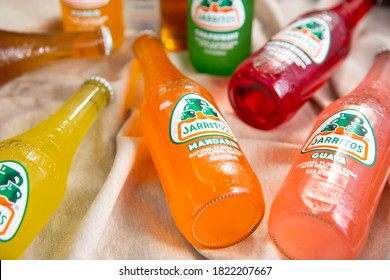 Irvine, California/United States - 09/01/2020: A view of several bottles and flavors of Jarritos Mexican soda.