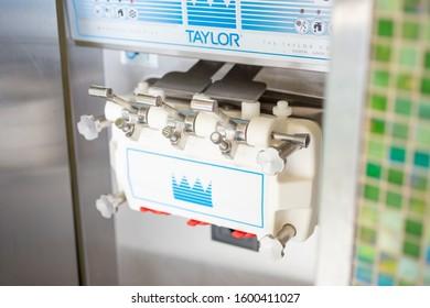 Irvine, California/United States - 12/27/2019: A view of a Taylor Company soft serve machine at a frozen yogurt retail shop.